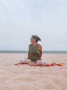 yoga on beach Portugal